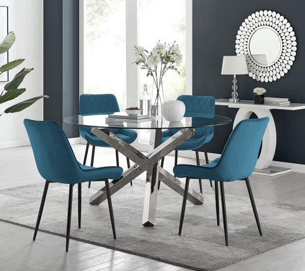 Vogue Round Dining Table and 6 Pesaro Black Leg Chairs