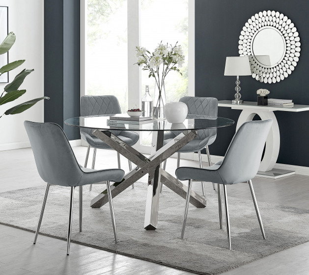 Vogue Round Dining Table and 6 Pesaro Silver Leg Chairs