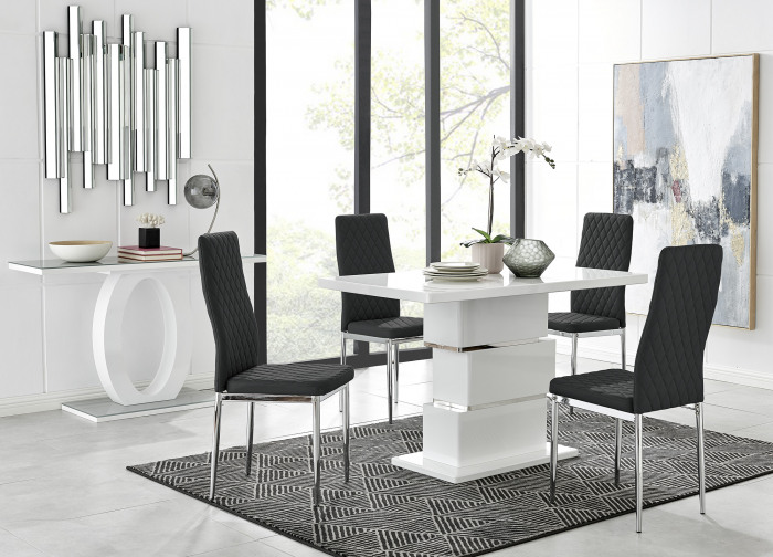 Apollo Rectangle White High Gloss Chrome Dining Table And 4 Milan Chairs Set