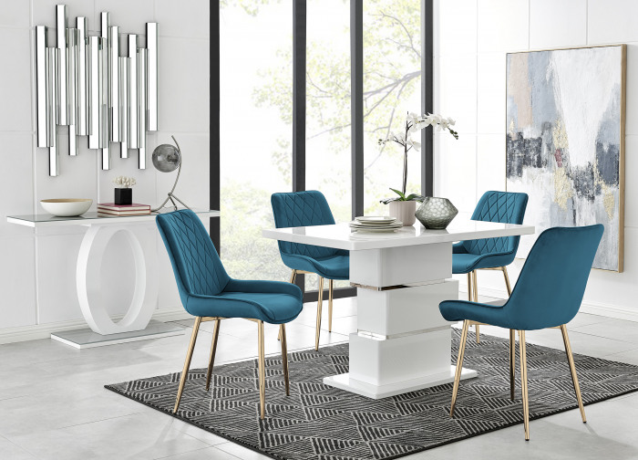 Apollo 4 Dining Table and 4 Pesaro Gold Leg Chairs
