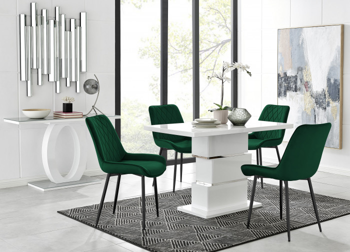 Apollo 4 Dining Table and 4 Pesaro Black Leg Chairs