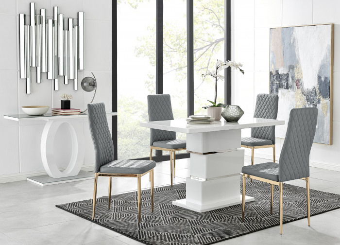 Apollo 4 Dining Table and 4 Gold Leg Milan Chairs