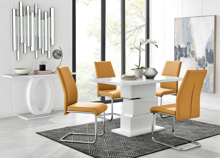 Apollo Rectangle White High Gloss Chrome Dining Table And 4 Lorenzo Chairs Set