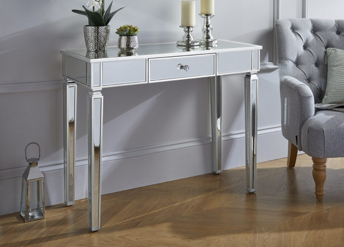 Madrid Silver Side Console Hallway Mirrored Drawer Table