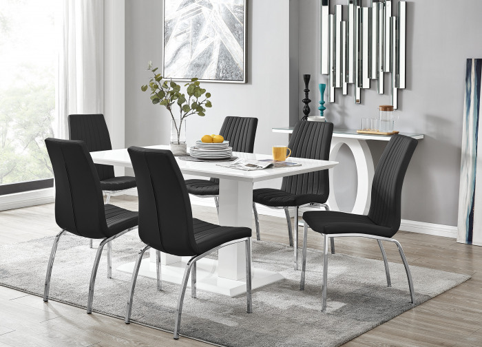 Imperia White High Gloss Dining Table And 6 Isco Chairs Set