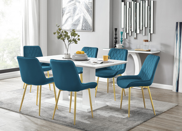 Imperia 6 White Dining Table and 6 Pesaro Gold Leg Chairs