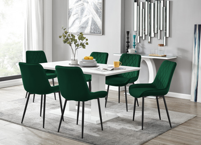 Imperia 6 White Dining Table and 6 Pesaro Black Leg Chairs