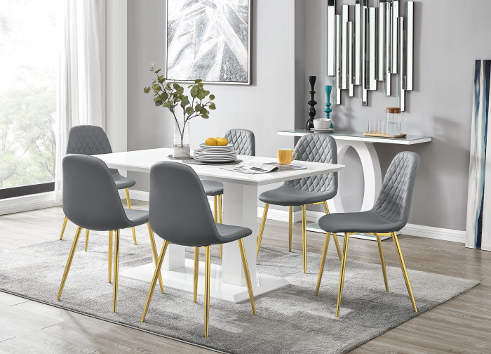 Imperia White High Gloss Dining Table And 6 Corona Gold Chairs Set