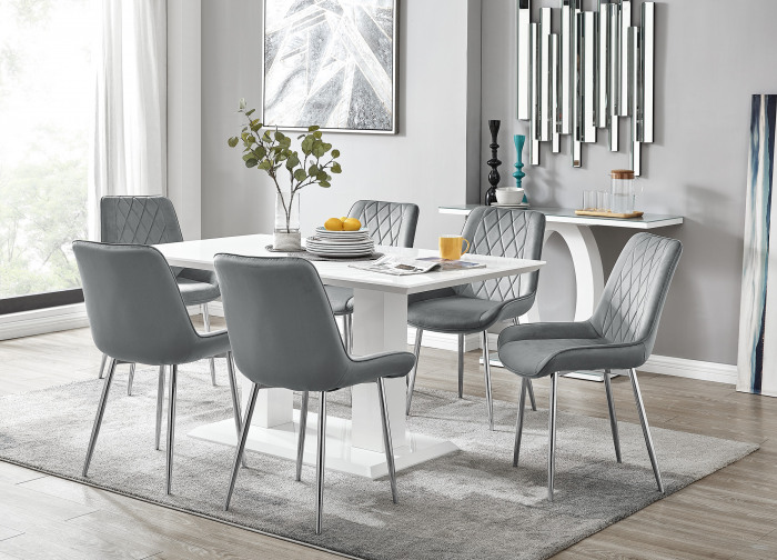 Imperia 6 White Dining Table and 6 Pesaro Silver Leg Chairs