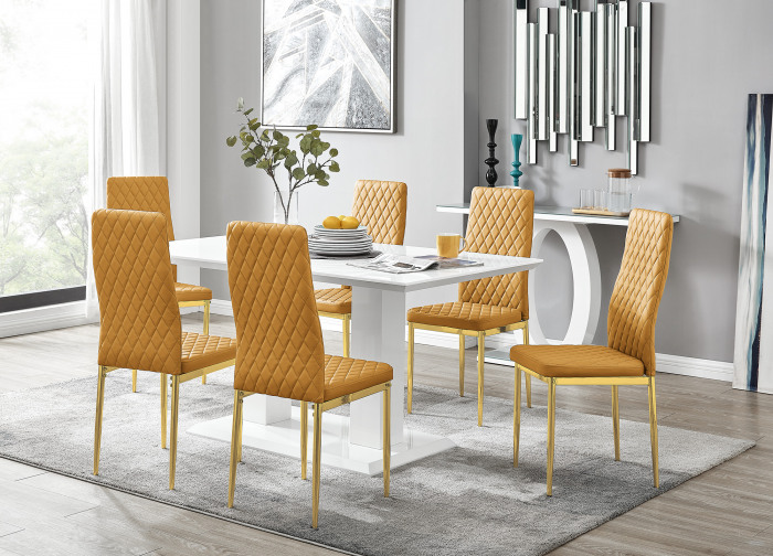 Imperia 6 White Dining Table and 6 Gold Leg Milan Chairs