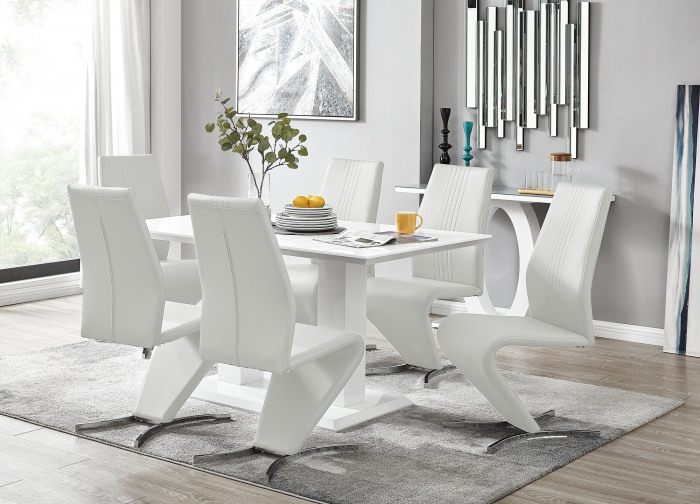 Imperia White High Gloss Dining Table And 6 Willow Chairs Set