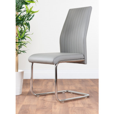 2x Lorenzo Modern Elephant Grey Faux Leather Chrome Dining Chairs