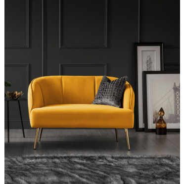 Myla 2 Seater Accent Chair Mustard Gold Legs