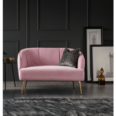 Myla 2 Seater Accent Chair Baby Pink Gold Legs