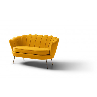 Pearl 2 Seater Accent Chair Plush Mustard Gold Legs