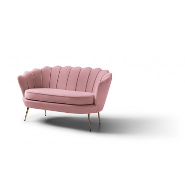 Pearl 2 Seater Accent Chair Plush Baby Pink Gold Legs