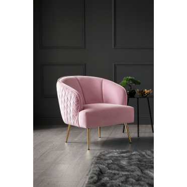 Myla Accent Chair Baby Pink Gold Legs