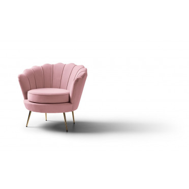Pearl Accent Chair Plush Baby Pink Gold Legs