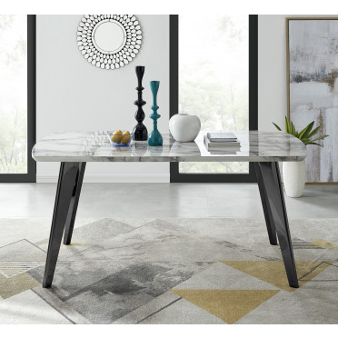 Andria Marble Effect Black Leg 6 Seater Dining Table