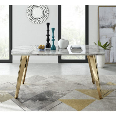 Andria Marble Effect Gold Leg 6 Seater Dining Table