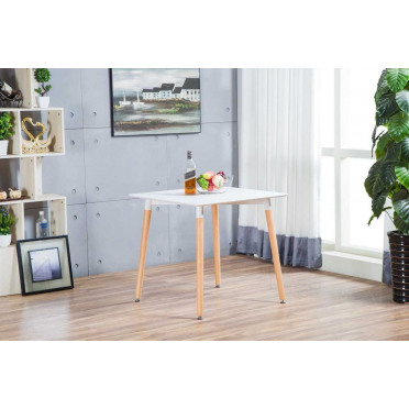 Anton White Wood Square Dining Table