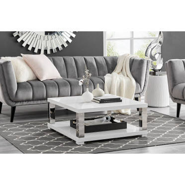 Anzio Square High Gloss and Chrome Large Coffee Table