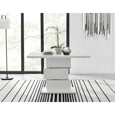 Apollo Rectangle White High Gloss Chrome 4 Seater Dining Table