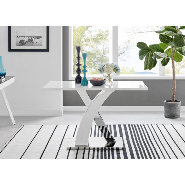 Atlanta Chrome Metal And White High Gloss 4 Seater Dining Table