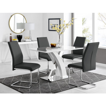 Atlanta White High Gloss And Chrome Metal Rectangle Dining Table And 4 Lorenzo Dining Chairs Set