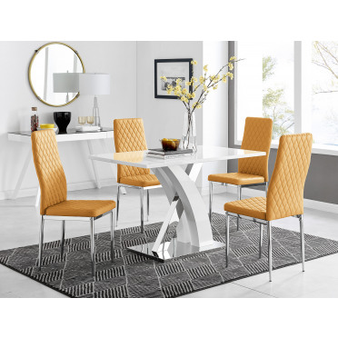 Atlanta White High Gloss And Chrome Metal Rectangle Dining Table And 4 Milan Dining Chairs Set