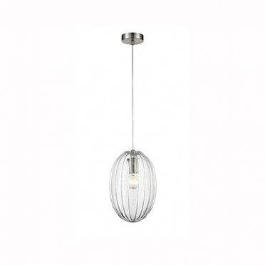 Aurora Ribbed Glass and Nickel Ceiling Pendant Light