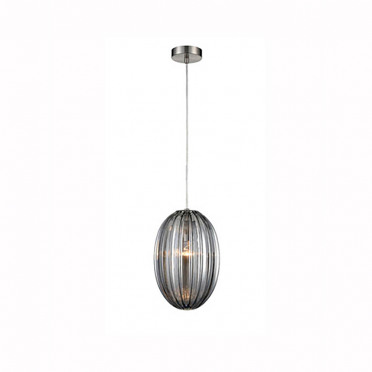 Aurora Smoked Ribbed Glass and Nickel Ceiling Pendant Light