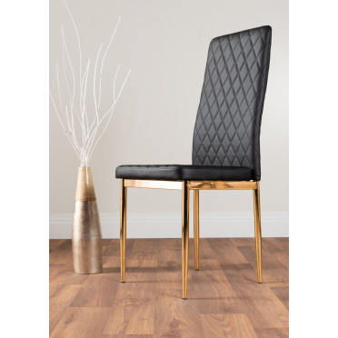 4x Milan Black Gold Hatched Faux Leather Dining Chairs