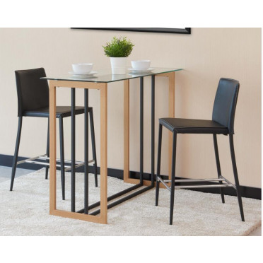 Brooklyn Modern Rectangular Clear Glass Wood Effect And Black Industrial Metal High Bar Table