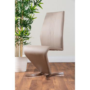 2x Willow Cappuccino Grey Faux Leather Chrome 'Z' Dining Chairs
