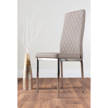 6x Milan Cappuccino Grey Chrome Hatched Faux Leather Dining Chairs