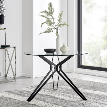 Cascina Black Metal And Glass Dining Table