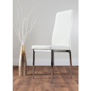 6x Milan White Chrome Hatched Faux Leather Dining Chairs