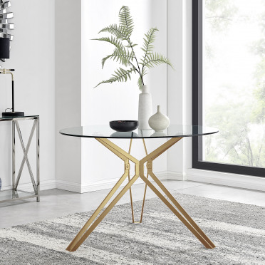 Empoli Gold Metal and Glass Round Dining Table