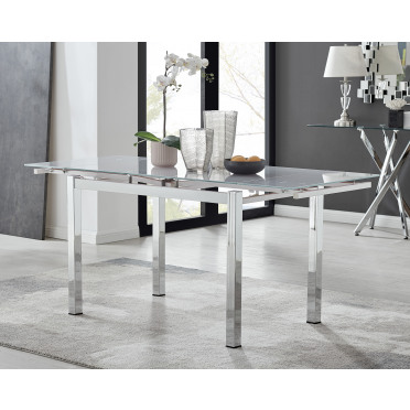 Enna White Glass Extending Dining Table