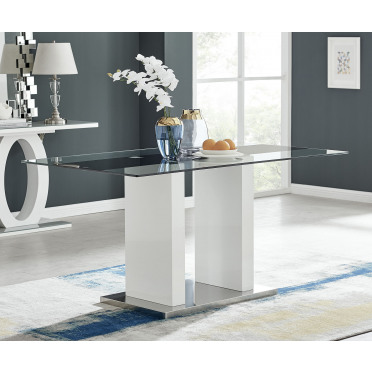 Florence Modern White High Gloss And Glass Dining Table