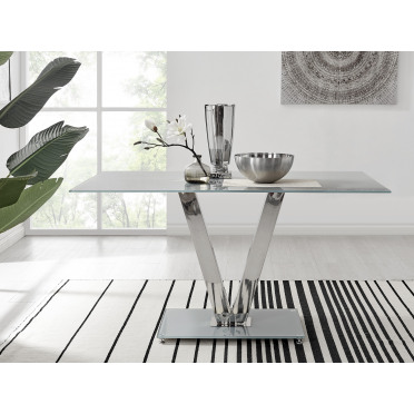 Florini Grey Glass And Metal V Dining Table