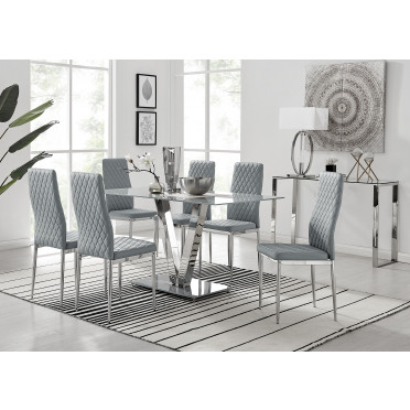Florini V Grey Dining Table and 6 Milan Chairs