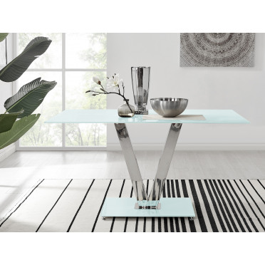 Florini White Glass And Metal V Dining Table