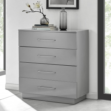 Fossano Grey High Gloss Chest of Drawers - 4 Drawer