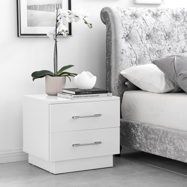 Fossano White High Gloss Bedside Table