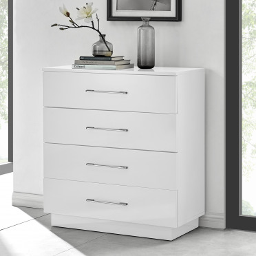 Fossano White High Gloss Chest of Drawers - 4 Drawer