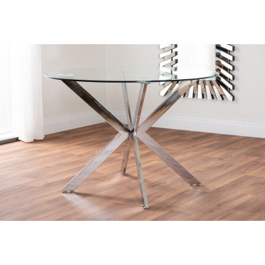 Venice Chrome Round Glass Dining Table