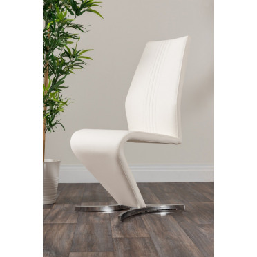 2x Willow White Faux Leather Chrome 'Z' Dining Chairs