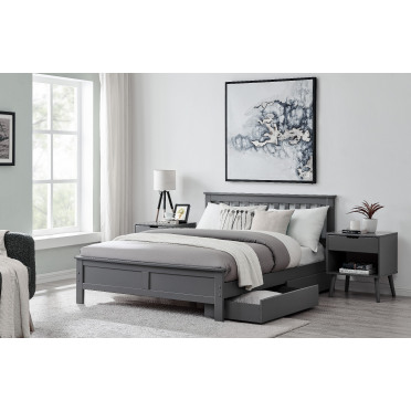 Azure Modern Grey Solid Pine Bed